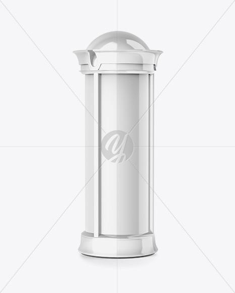 Round Glossy Street Advertising Column Mockup- Half Side View