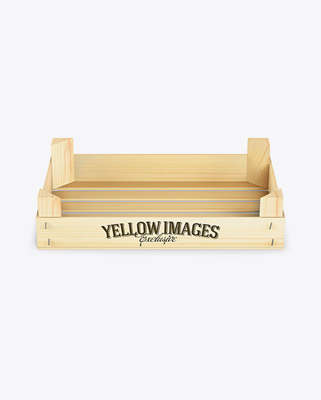 Download Free Empty Wooden Crate Mockup - Front View (High-Angle Shot) PSD Template