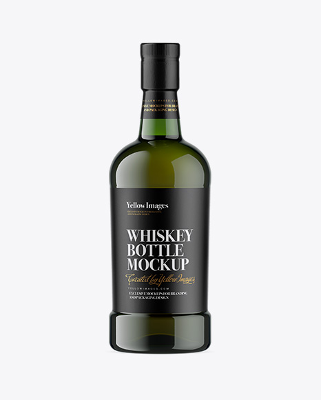 Green Glass Whiskey Bottle Mockup