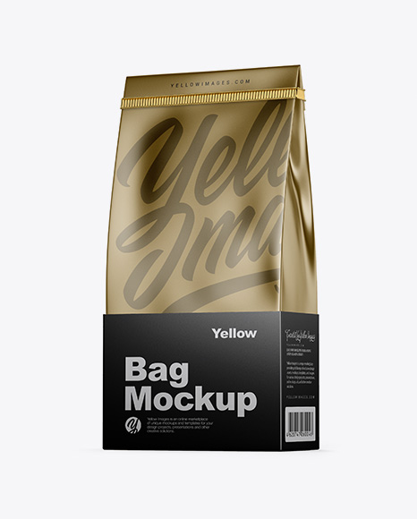 Download Metallic Coffee Bag With Tin-Tie Mockup - Half Side View Object Mockups