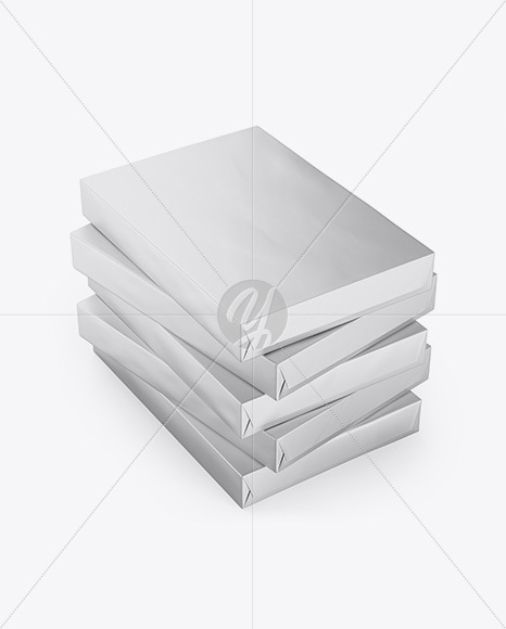 5 Matte Metallic A4 Size Paper Sheet Packs Mockup - Half Side View