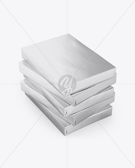 5 Metallic A4 Size Paper Sheet Packs Mockup - Half Side View