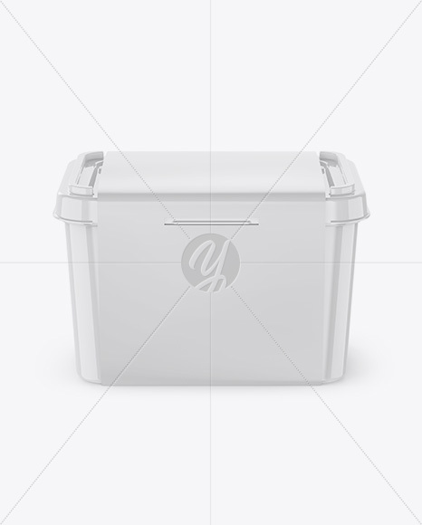Glossy Plastic Container w/ Label Mockup - Front View (High Angle Shot)