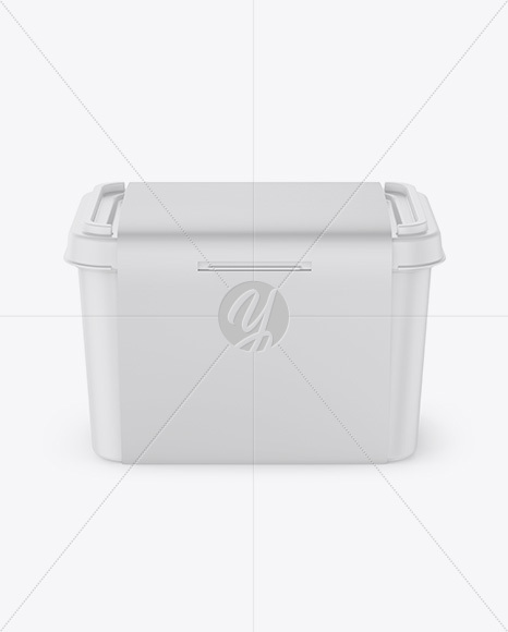 Matte Plastic Container w/ Label Mockup - Front View (High Angle Shot)