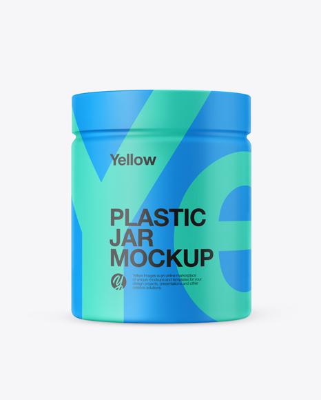 Plastic Jar in Matte Shrink Sleeve Mockup