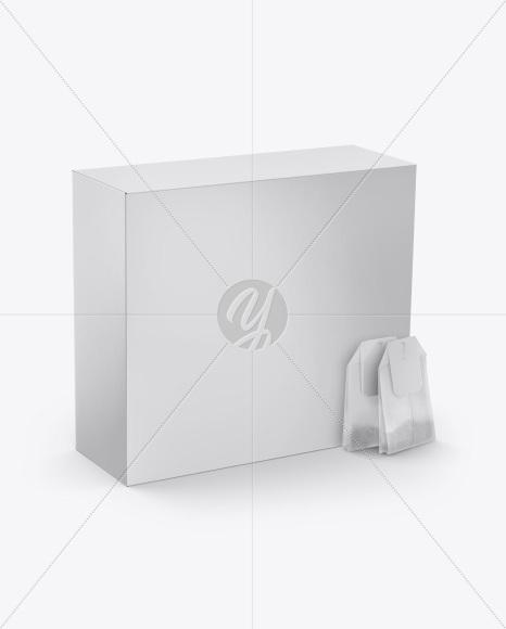 Box with Two Tea Bags Mockup - Half Side View (High-Angle Shot)