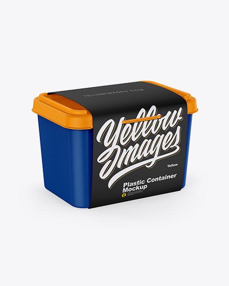 Matte Plastic Container w/ Label Mockup - Half Side View