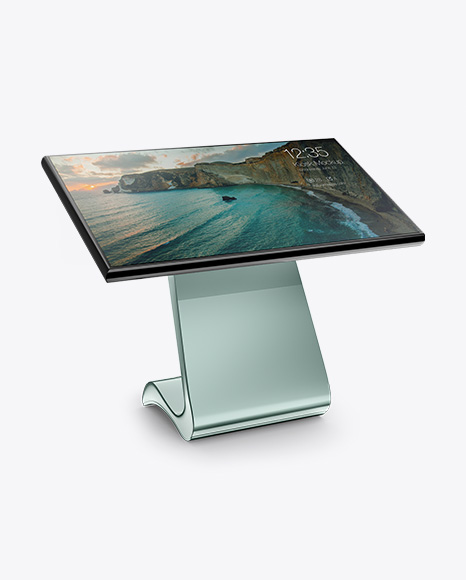 LCD Touch Screen Kiosk Mockup - Half Side View
