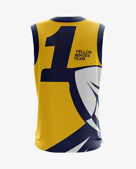 Download Basketball Kit W V Neck Mockup Back View Yellow Images