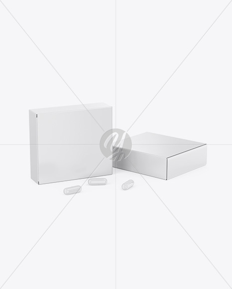 Two Glossy Boxes w/ Pills Mockup - Half Side View