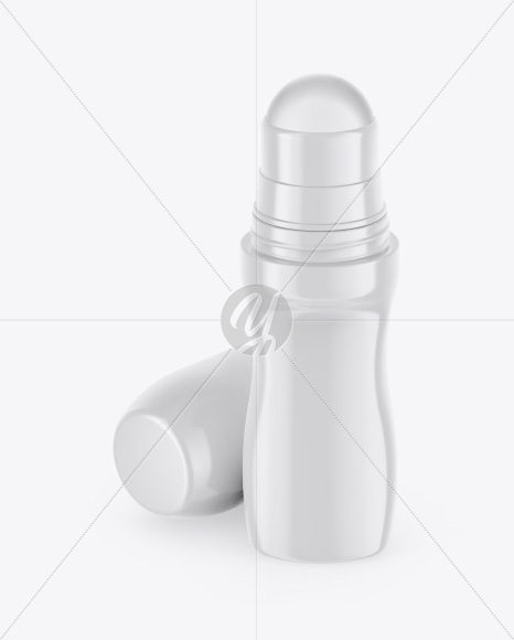 Glossy Roll-On Deodorant Mockup - Front View (High-Angle Shot)