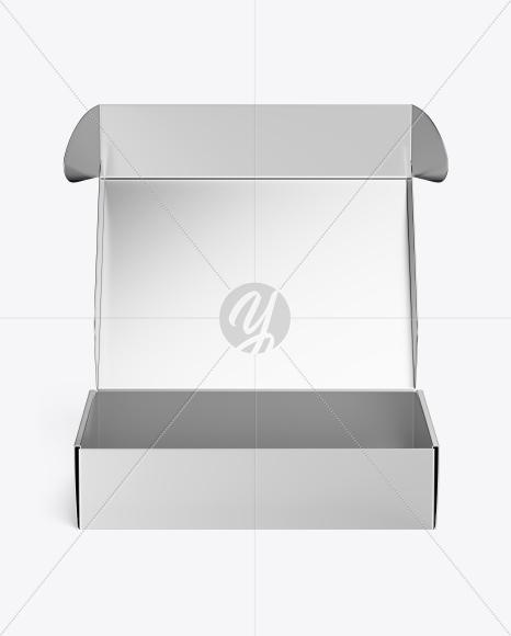 Metallic Opened Box Mockup - Front View (High Angle Shot)
