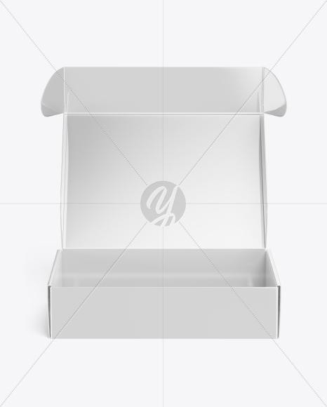 Glossy Opened Box Mockup - Front View (High Angle Shot)