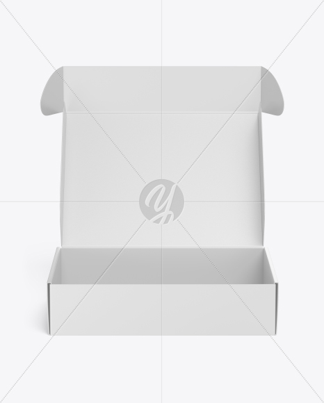Matte Opened Box Mockup - Front View (High Angle Shot)