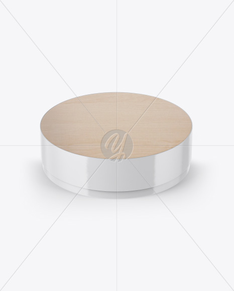 Download Wooden Round Pack Mockup Front View High Angle Shot In Packaging Mockups On Yellow Images Object Mockups PSD Mockup Templates