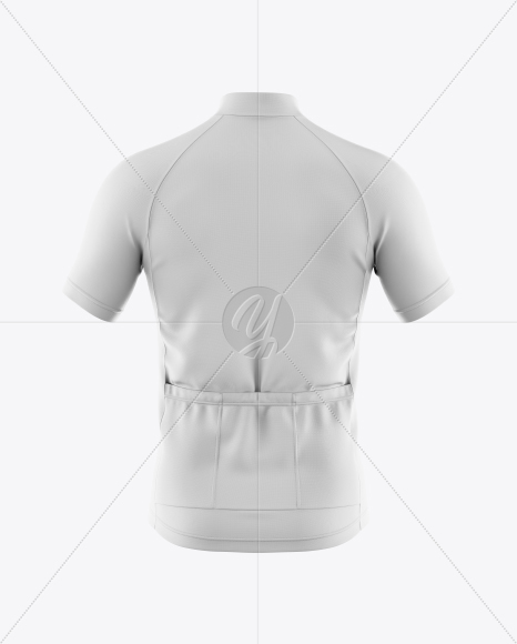 Men's Full-Zip Cycling Jersey Mockup - Back View