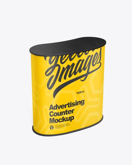Download Advertising Counter Mockup - Half Side View (High Angle Shot) Object Mockups