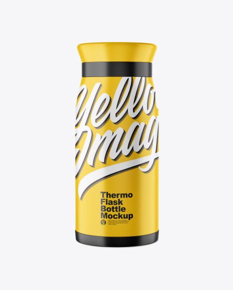 Matte Thermo Flask Bottle Mockup
