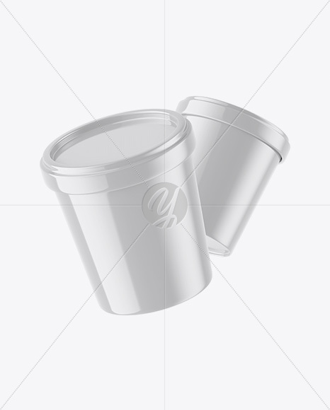 Two Glossy Ice Cream Cups Mockup