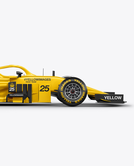 Download Formula 1 2018 Mockup Side View In Vehicle Mockups On Yellow Images Object Mockups PSD Mockup Templates