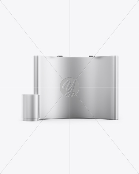 Matte Metallic Spring Pop-up Stand Mockup - Front View
