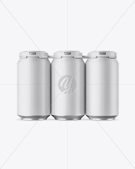 Pack with 6 Matte Aluminium Cans with Plastic Holder Mockup