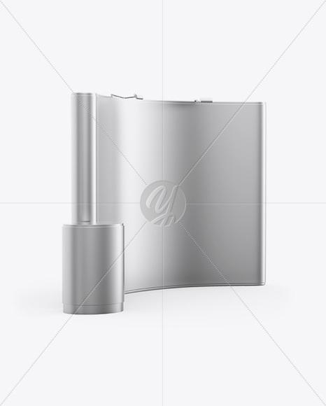 Matte Metallic Spring Pop-up Stand Mockup - Half SIde View