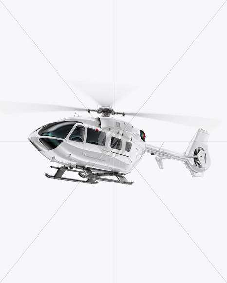 Flying Helicopter Mockup - Half Side View