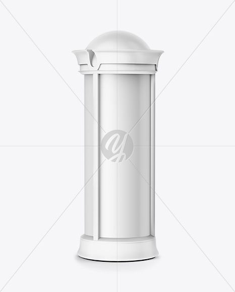Round Matte Street Advertising Column Mockup- Half Side View