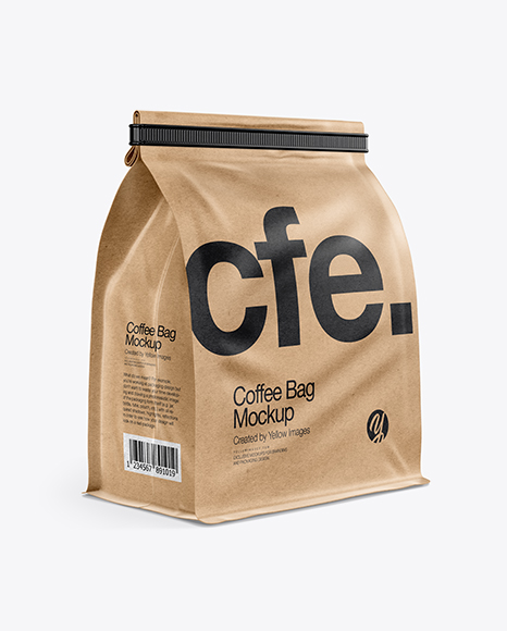 Download Kraft Paper Coffee Bag With Tin Tie Mockup Half Side View In Bag Sack Mockups On Yellow Images Object Mockups PSD Mockup Templates