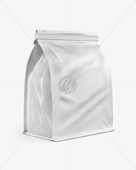 Kraft Paper Coffee Bag With Tin-Tie Mockup - Half Side View