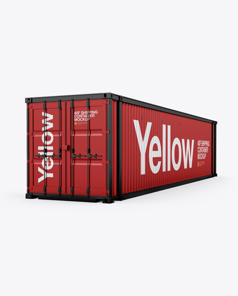 40F Shipping Container Mockup - Halfside View