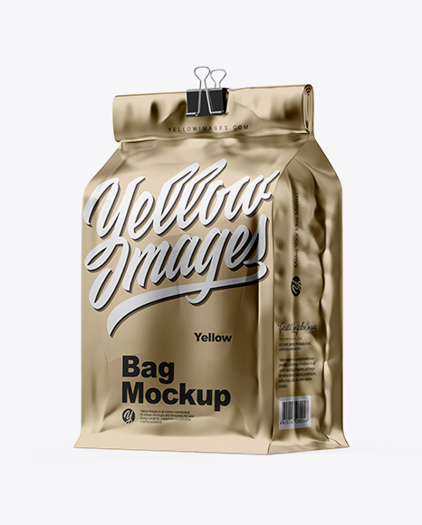 Download Free Metallic Coffee Bag With Clip Mockup - Half Side View PSD Template