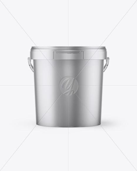 Matte Metallic Paint Bucket Mockup - Front View
