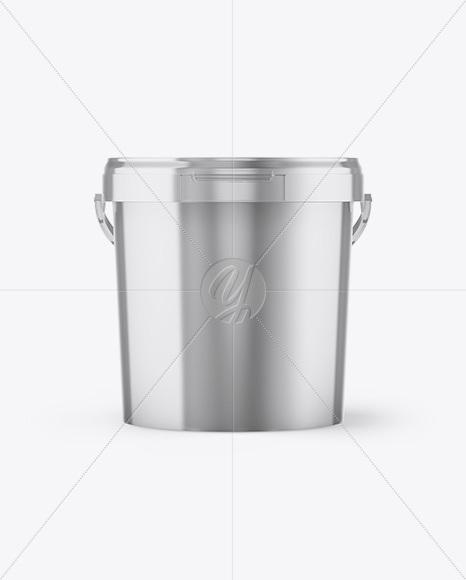 Metallic Paint Bucket Mockup - Front View