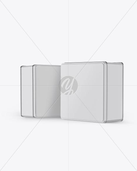 Download Two Glossy Tin Boxes Mockup Free Mockups
