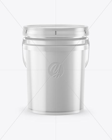 Plastic Bucket Mockup - Front View (High Angle Shot)
