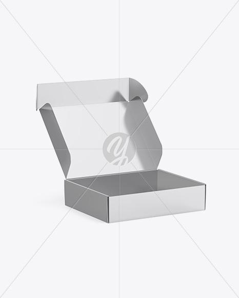 Metallic Opened Box Mockup - Half Side View