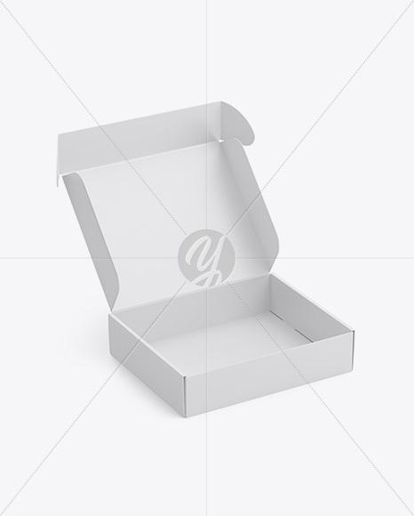 Matte Opened Box Mockup - Half Side View