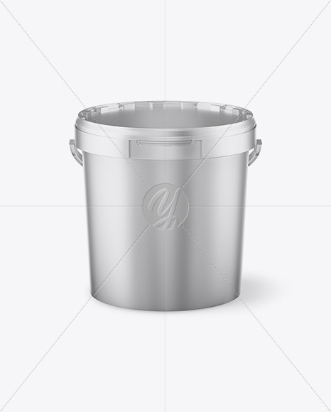 Matte Metallic Paint Bucket Mockup - Front View (High Angle Shot)