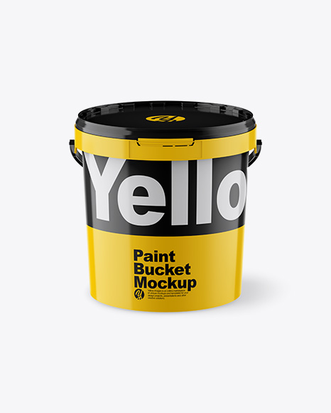 Download Glossy Paint Bucket Mockup - Front View (High Angle Shot) Object Mockups
