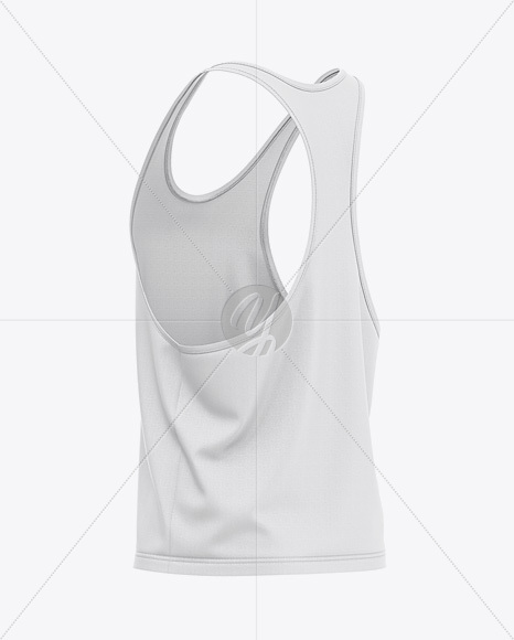 Men's Racer-Back Tank Top Mockup - Back Half-Side View
