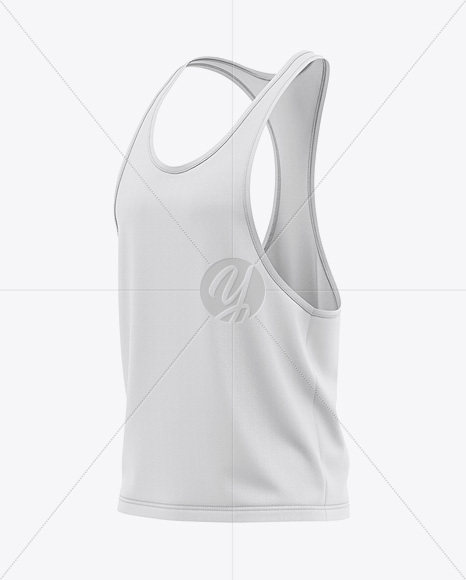 Men's Racer-Back Tank Top Mockup - Front Half-Side View Of Gym Tank Top Shirt