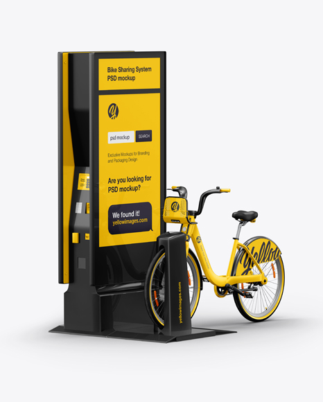 Download Bicycle Sharing System Mockup In Vehicle Mockups On Yellow Images Object Mockups PSD Mockup Templates