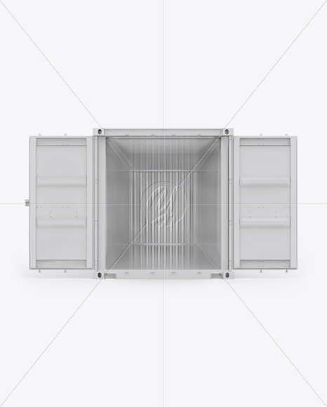 40F Shipping Container with Opened Doors Mockup - Front View