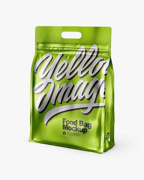 Download Matte Metallic Stand-up Food Bag Mockup Object Mockups