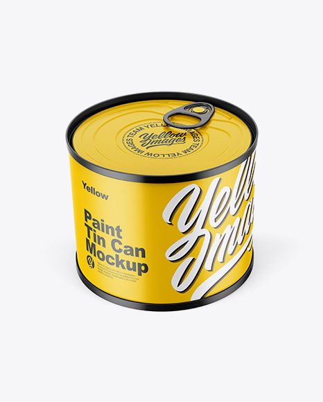 Download Matte Tin Can Mockup - Front View (High Angle Shot) Object Mockups