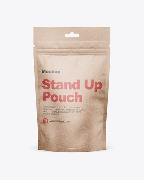 Kraft Stand-Up Pouch w/ Zipper Mockup - Front View
