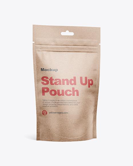 Kraft Stand-Up Pouch w/ Zipper Mockup - Half Side View