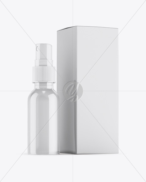Glossy Spray Bottle W Glossy Paper Box Mockup In Bottle Mockups
